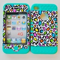 Colorful Leopard on Teal Silicone Iphone 4 4g 4s 2 in 1 Rubber Cover Case