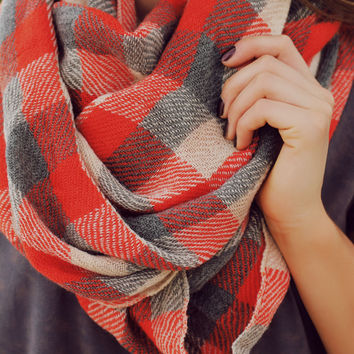 Checkmate Infinity Scarf - Burnt Orange