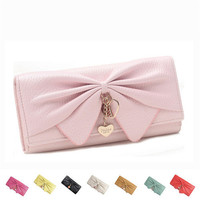 Ladies' Long PU Wallet Bifold Simple Design Clutch Purse Snap Closure Handbag