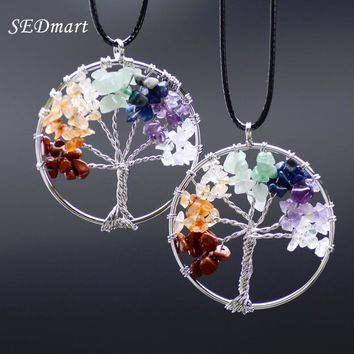 SEDmart Women Rainbow 7 Chakra  Tree Of Life Quartz Pendant Necklace Multicolor Wisdom Tree Natural Stone Necklace