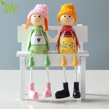Sweet Couple Dolls Wood Figurines  Kids Toys Home Decor