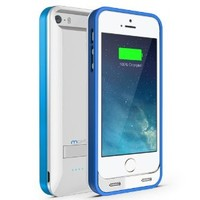 Maxboost Atomic S MFI Certified 2400mAh Portable Power Bank Battery Case for iPhone 5/5S, Glossy White/Blue