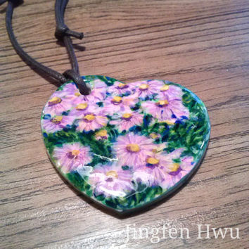 pink daisy necklace polymer clay pendant handpainted charm flower pendant handmade ornament