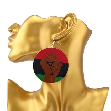 SANSHOOR African Power Fist  Wood Dangle Earrings With Red Green Black Color Ethnic Jewelry For Women Christmas Gift 1Pair