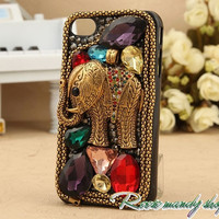 IPhone 4 cases, apple 4 s case, restore ancient ways India elephants crystal jewel hard back protection phone sets