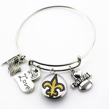 New Orleans Saints Football Sports Team Snap Bracelet Alloy I Love Football Charms Fit Sport Fan Adjustable Bracelet Jewelry