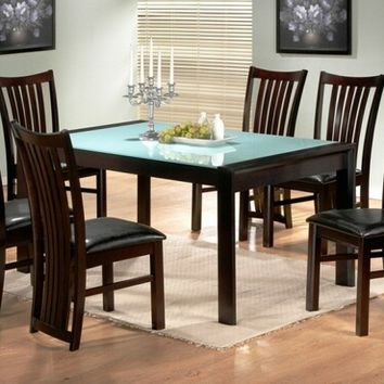 A.M.B. Furniture & Design :: Dining room furniture :: Dining table sets :: Espresso finish :: 7 pc Melissa collection glass top and espresso finish wood dining table set with leather like vinyl upholstery on the seats