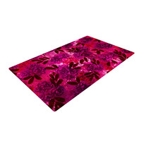 "Ebi Emporium ""Grunge Flowers IV"" Pink Red Woven Area Rug"