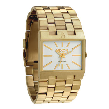 Nixon A085504 Men's The Ticket White Dial Gold Plated Stainless Steel Watch