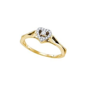 10kt Yellow Gold Women's Round Diamond Heart Love Promise Bridal Ring 1/10 Cttw - FREE Shipping (US/CAN)