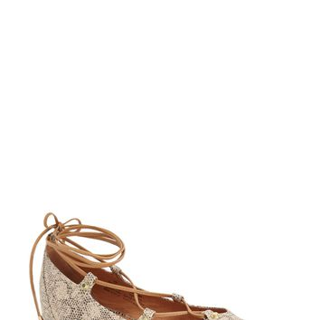 Halogen 'Owen' Pointy Toe Ghillie Flat (Women) | Nordstrom