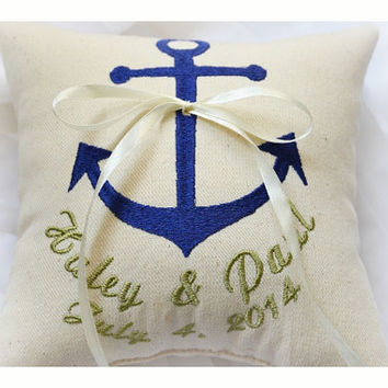 Nautical Embroidered Wedding ring pillow , anchor wedding pillow ,personalized ring pillow, ring bearer pillow with Custom embroidery (R93)