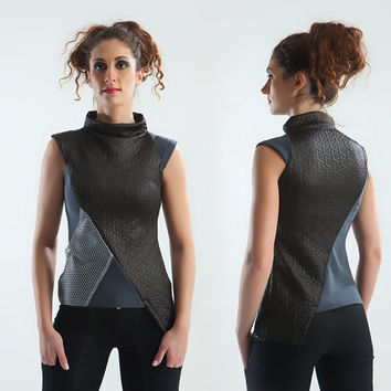 Asymmetric top cowl neck sci fi  fitted shirt mesh fabric