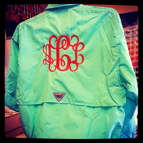 Monogram columbia fishing shirt pfg font from monograms inc for Monogram fishing shirt