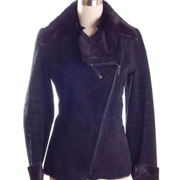 Vintage Womens Black  Pony/Suede Asymmetrical  Zipper Jacket 1970s Italy  App.Size 6
