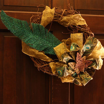 Peacocks and Butterflies Wreath - Wall Door Wreath on grapevine wreath with gold teal and glitter - Cyber Monday
