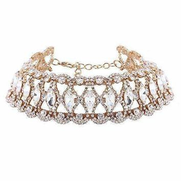 Bingirl Luxury Crystal Rhinestone Choker Necklace Collares Fashion Punk Wide Statement Necklace (Gold)
