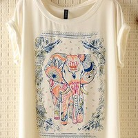 Vintage Lovely Elephant Print T-shirt from pomelo
