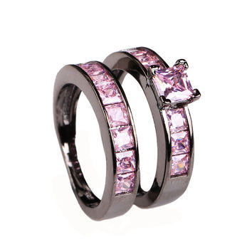 Luxury Black Women Engagement Ring Set with Zirconia and Amethyst