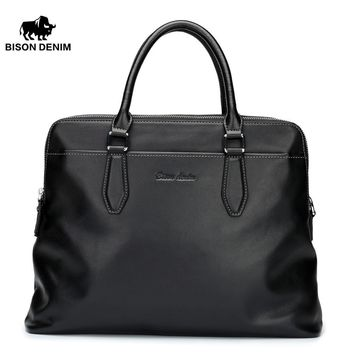 Genuine Leather Men's Briefcase Laptop Cross Body Bag Casual Man Shoulder Bag