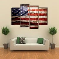Closeup Of Grunge American Flag Multi Panel Canvas Wall Art