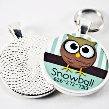 Cute Whimsical Owl with Big Eyes Custom Stylish Pet Tag