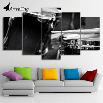 Canvas Paintings Printed 5 Pieces Musical Instrument Drums Wall Art Canvas Pictures For Living Room Bedroom Home Decor CU-1364A