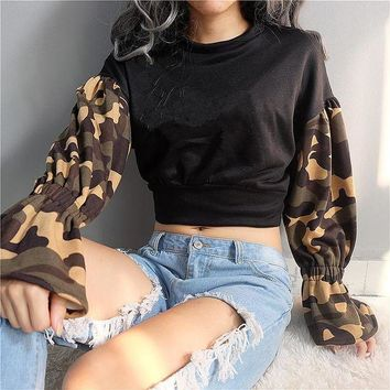 IKCKL9 Hoodies Tops Winter Camouflage Patchwork Sexy Crop Top Christmas Loudspeaker [510289346614]