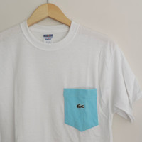New Vintage Lacoste Pocket Tee T-Shirt Size MEDIUM