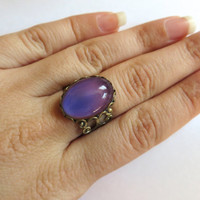 Color Changing Moodstone Mood Stone Adjustable Ring Bronze Antique Filigree Stone Finger Wrap Jewelry 90's Revival