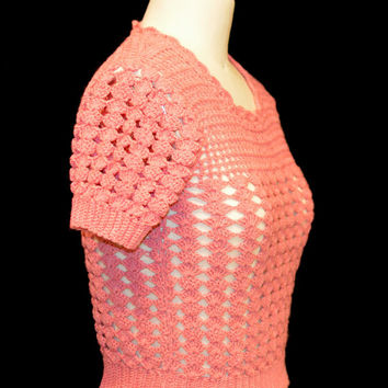 Vintage 60s Pink Wool Crochet Lace Sweater Top - Short Sleeve Openwork