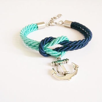 Mint & Navy blue nautical rope bracelet,  tie it knot , rope jewelry ,rope bracelet ,silver anchor, sailor knot