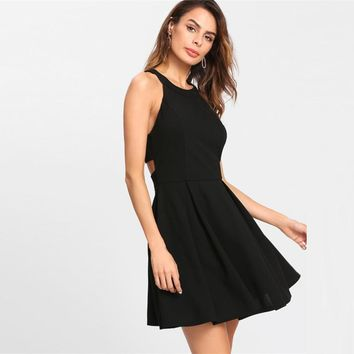 Fashion Neck Dress  Box Pleated Fit And Flare Dress Black Sleeveless Halter Dress