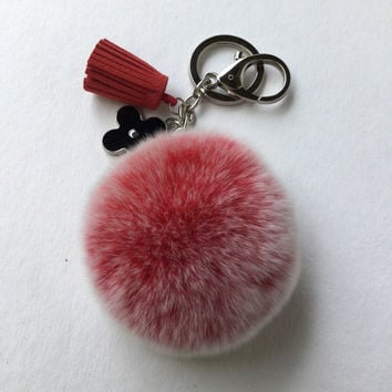 Red Frosted fur pompom keychain REX Rabbit fur pom pom ball with flower charm and leather tassel