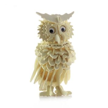 Children's 3D Simulation Of Wooden Jigsaw Puzzle Model Animal Night Owl Wooden Toys Puzzle 3d Educational Toys