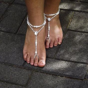 Beach Sandal Pearl Foot Jewelry Wedding Rhinestone Barefoot Sandal Anklet Rhinestone Barefoot Shoes Bridesmaids Gift