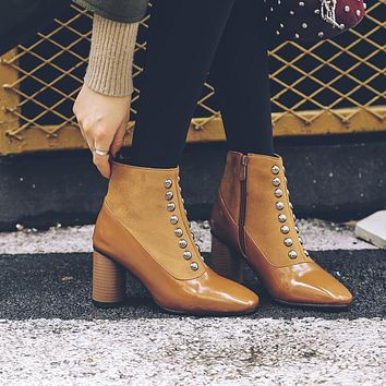 Square Toe Rivets Decorate Side Zipper Middle Chunky Heel Short Boots