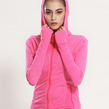 Women Breathable Running Hoodie with Thumb Hole - Various Colors