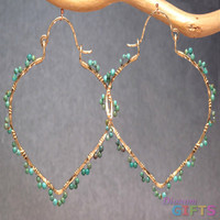 "Hammered pointed hoops wrapped with turquoise, 2-1/4"" Earring Gold Or Silver"