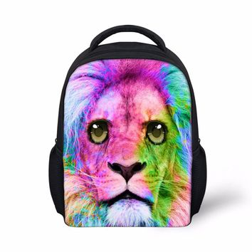 FORUDESIGNS Pink Lion Printed Schoolbag,Cute Small School Bags for Teenager Girls,3D Tiger Pattern Kids Book Schoolbags Mochila