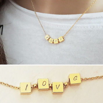 Customized Cube Necklace / Monogram Necklace / Personalized Necklace / Initial Jewelry / Meaning Birthday Gift /  ID / Mom Gift / N324