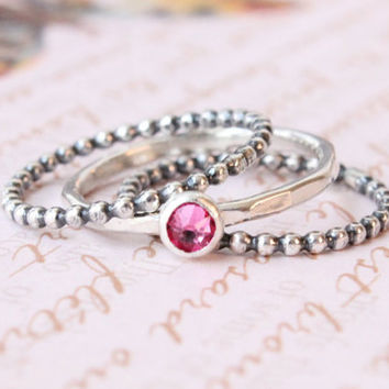 Stackable birthstone ring set of 3, mothers rings, sterling silver, 1 Swarovski crystal, 2 beaded rings, birthstone jewelry, birthday gift