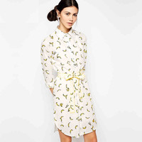White Banana Print Collared Dress With Belt