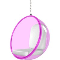 Fine Mod Imports Bubble Hanging Chair Pink Acrylic, White - Walmart.com