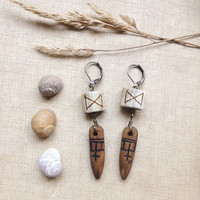 dagaz | rune earrings - antler and wood earrings - viking jewelry - rustic woodland earrings - natural pagan jewelry - primitive witch