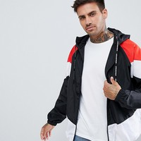 Pull&Bear Windbreaker With Hood In Black Color Block at asos.com