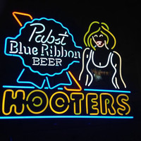 Pabst Blue Ribbon Beer Hooters Owl Neon Sign Real Neon Light