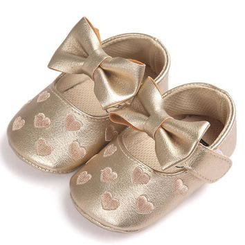 Baby Girl Bowknot Heart Leather Shoes Anti-slip Soft Sole