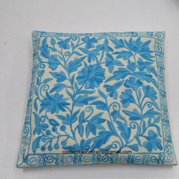 turquoise blue Pillow Cover/Embroidered Euro Sham Cover/Cushion Cover/16x16/20x20/Floral cushion cover/Round Pillow/Accent Pillow/Oblong