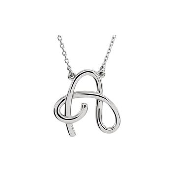 Silver Script Pendant Necklace